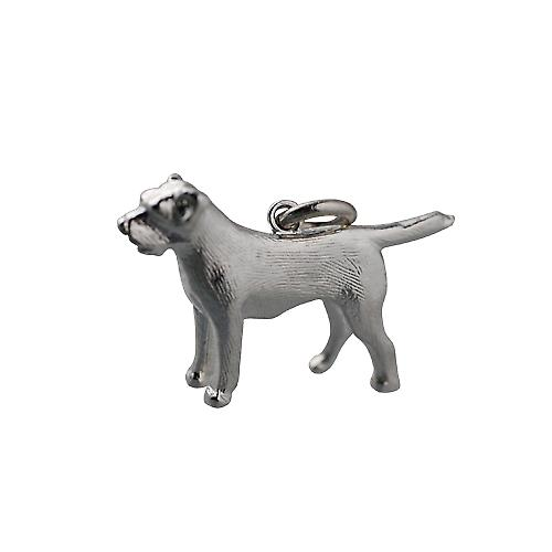 Silver 15x27mm short haired Mastiff Dog pendant or charm