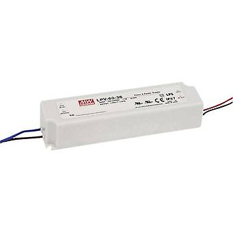 Mean Well LPV-60-12 LED transformer Constant voltage 60 W 0 - 5 A 12 Vdc not dimmable, Surge protection