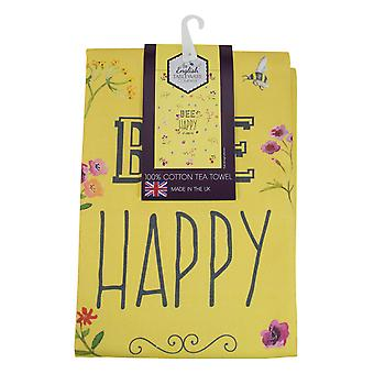 English Tableware Co. Bee Happy Tea Towel, Yellow