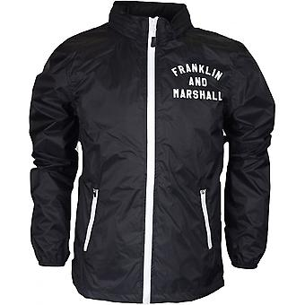 Franklin & Marshall Mf102 Funnel Neck Zip Perforated Nylon Black Jacket