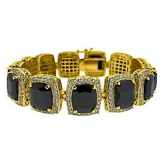 Iced Out Bling BLACK CZ bracelet - gold / black
