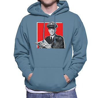 Elvis Presley Signing Autographs Army Uniform Pop Art Men's Hooded Sweatshirt