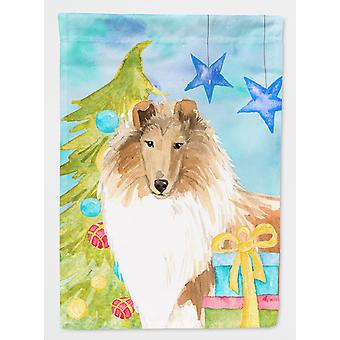 Christmas Tree Rough Collie Flag Canvas House Size