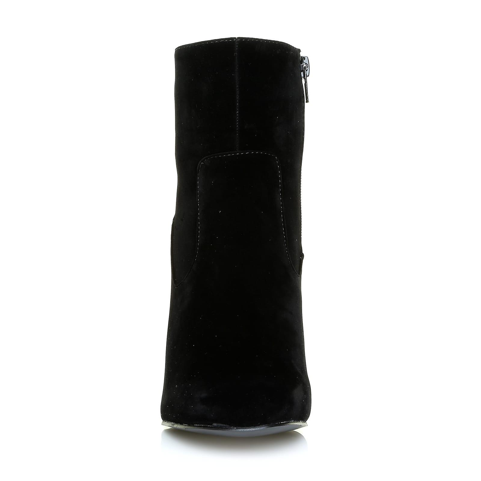 Boots Zip Faux Round with Black Suede Ankle KELLY Inside Toe Classic BvHO04xcwq