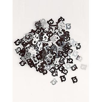 Birthday Glitz Black & Silver 13th Birthday confetti