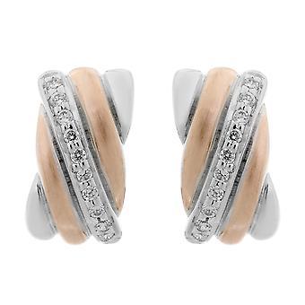 Orphelia Silber 925 Ohrringe Rechteck rosa/weiß Zirc ZO-7118