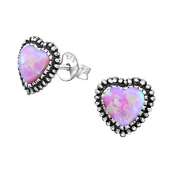 Heart - 925 Sterling Silver Opal And Semi Precious Ear Studs - W35086x