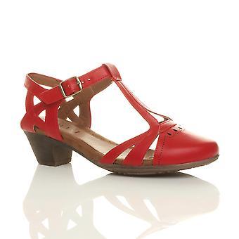 Ajvani Womens Mitte blockabsatz ausgeschnitten Schlepplift intelligente Arbeit lässig Sommer Knöchel Komfort Brogue Schuhe Sandalen