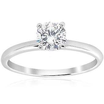 5/8ct Solitaire Diamond Ring 14K White Gold