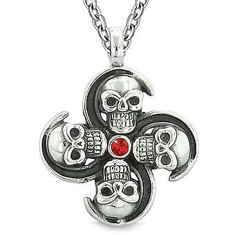 Supernatural Skull Powers Magic All Forces of Nature Amulet Cherry Red Crystal Pendant Necklace