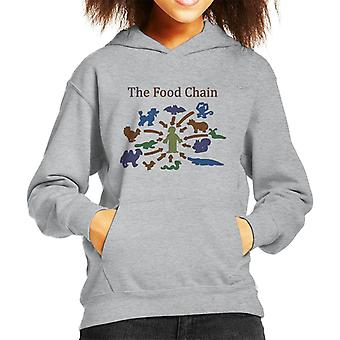 The Food Chain Ends With Man Kid's Hooded Sweatshirt