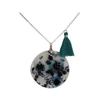 Collier Gemshine pendentif de médaillon mère-de-perle FLOWERS bleu noir argenté