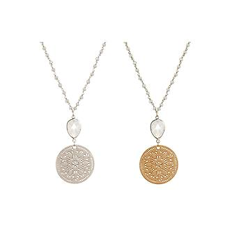 GEMSHINE ladies necklace with faceted moonstones and mandala dream catcher. 60 cm chain in 925 Silver or high-quality gold-plated. Made in Munich, Germany. Quality of jewelry in a fine case.