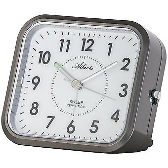 Atlanta 1768/4 alarm clock quartz anthracite grey quietly without ticking with light Snooze