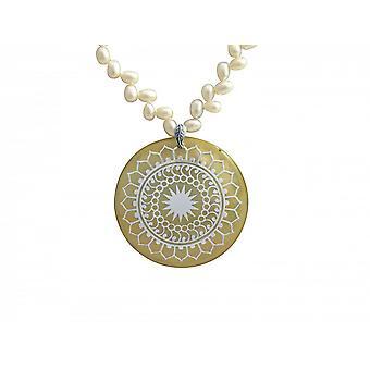 Dames - pendentif - pendentif - médaillon - perles - 925 argent - blanc - 5 cm