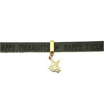 Damen - Armband - Frieden - Taube - Flügel - 925 Silber Vergoldet - Vergoldet - WISHES - Anthrazit - Grau - Magnetverschluss