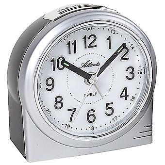 Атланта 1956/19 будильник кварцевые аналоговые серебро спокойно без тиканье светом Snooze