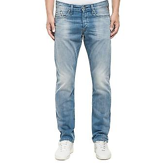 Replay Waitom ljus tvätta Denim Jeans Straight Fit