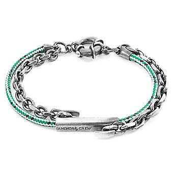 Green Dash Belfast Silver and Rope Bracelet