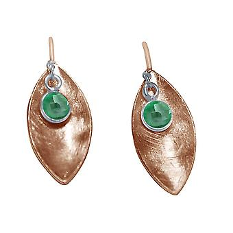Ladies earrings 925 Silver rose gold MARQUISE emerald green 3 cm