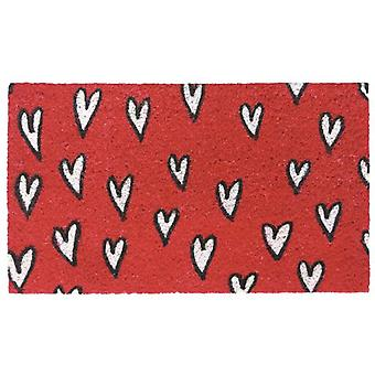 Wellindal Doormat red hearts 40x70cm (Decoration , Carpets)