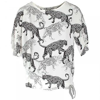 Oui Three Quarter Sleeve Cheetah Print Top