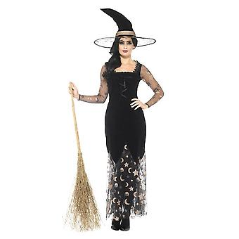 Deluxe Moon & Stars Witch Costume, Black & Gold, with Dress & Hat