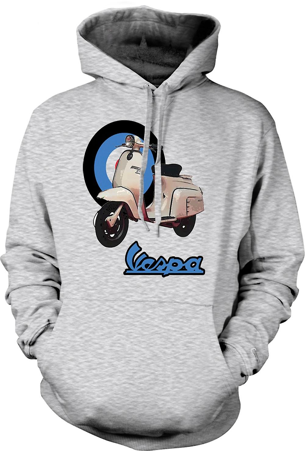 Mens Hoodie - Vespa - British Flag - Mod - Scooter