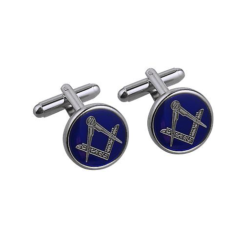 Rhodium Plated 17mm round cold cure enamel Masonic swivel Cufflinks