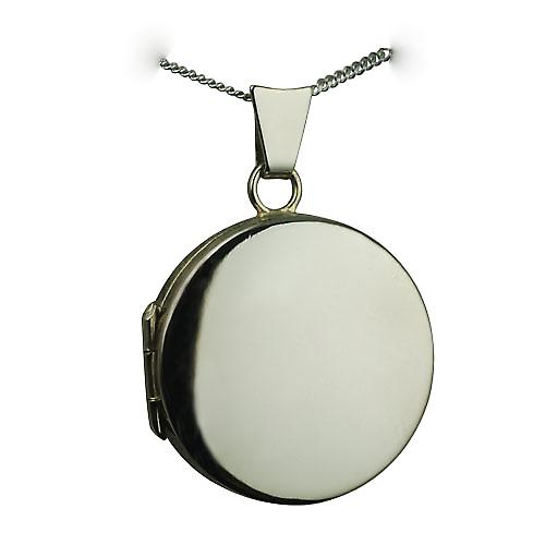 18ct White Gold 20mm round flat plain Locket with a curb Chain 16 inches Only Suitable for Children