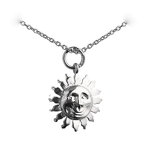 Silver 15mm face of the sun smile Pendant with a rolo chain