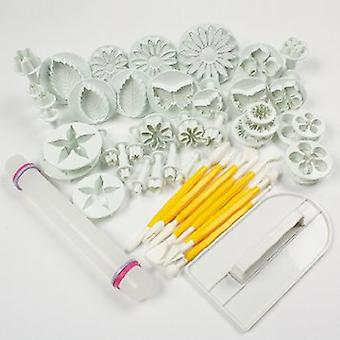 57 Pieces Cake/Cookie Decorating Sugarcraft Cutters Smoothers & Plungers - Flower Leaf Shapes