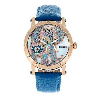 Bertha Betsy MOP Leather-Band Ladies Watch - Rose Gold/Blue