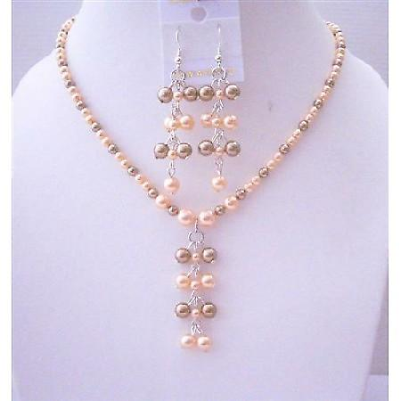 Bronze & Peach Swarovski Pearls Swarovski Drop Earrings Jewelry Set