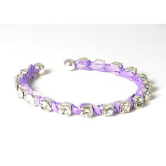 The Olivia Collection Lilac Rhinestone and Ribbon Cuff Bangle Bracelet