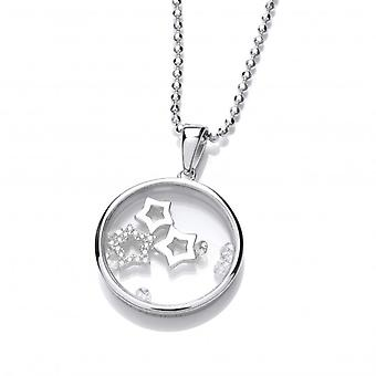Cavendish French Celestial Silver and CZ Shooting Stars Pendant with Silver Chain