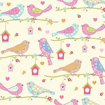 Debona Children's Pink Orange Flowers Birds Hearts Trees Wallpaper