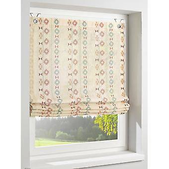 Heine home Roman shade with ethnic patterns printed linen look country house eyelets sand H/W 125 x 120 cm
