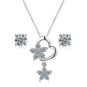 925 Sterling Silver Pave Heart With Star Details Pendant Necklace & Earring Set