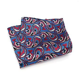 Blue & red silver oat paisley pattern pocket square
