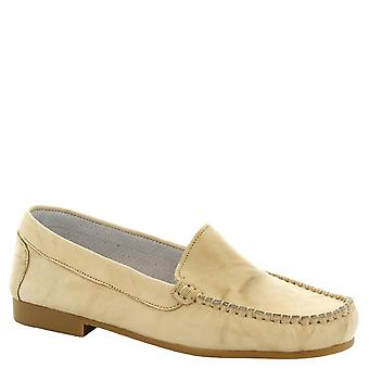 Leonardo Shoes Women's handmade slip-on moccasins in cream calf leather
