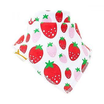 Blanco con babero bandana de fresas rojas y rosa