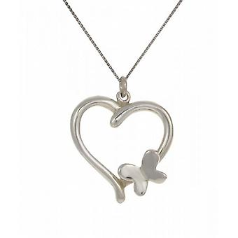 "Cavendish French Sterling Silver Heart Pendant with Butterfly Motif with 16 - 18"" Silver Chain"