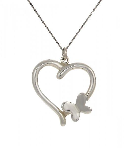 Cavendish French Sterling Silver Heart Pendant with Butterfly Motif