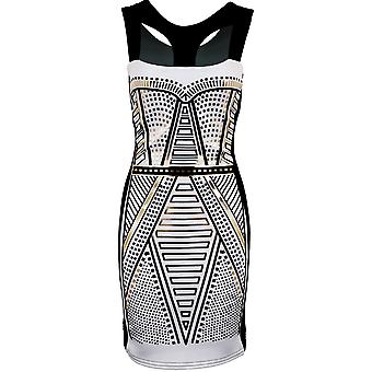 Ladies Sleeveless Black Foil Tribal Print Women's Evening Smart Bodycon Dress