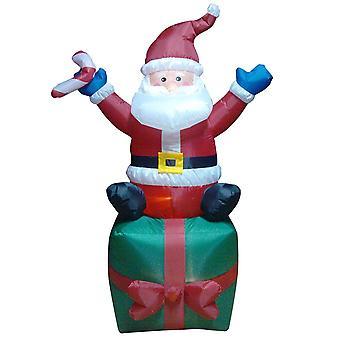 6ft LED utendørs oppblåsbare Santa på gaveeske