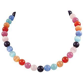 Ewige Sammlung Melodie Regenbogen Katzen Auge Halskette Perlen Silber Ton