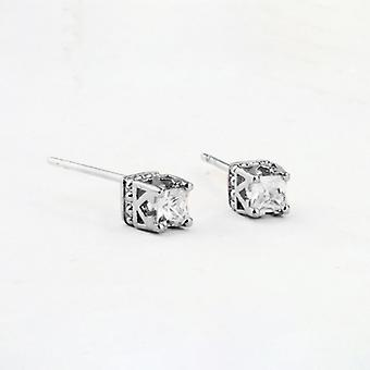 18K White Gold Plated Square Stud Earrings