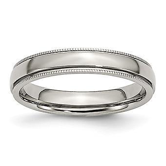 Edelstahl Perlen Schlossdrücker gerillt und Bead bezaubert 4mm poliert Bandring - Ring-Größe: 6 bis 12