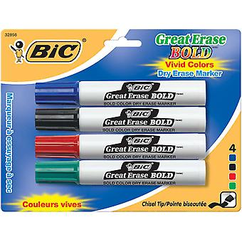 Bic Great Erase Bold Dry Erase Markers Chisel Tip 4 Pkg Blue Black Red Green Decp41